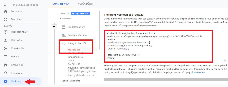 hướng dẫn lấy tracking code trong google analytics