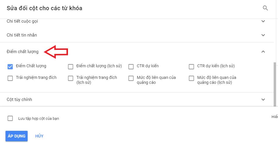 cách xem điểm chất lượng google ads