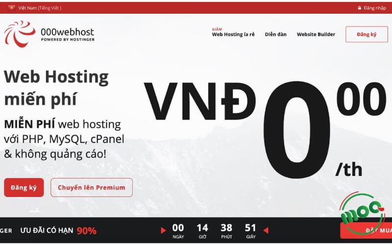 Đăng ký hosting miễn phí 000webhost