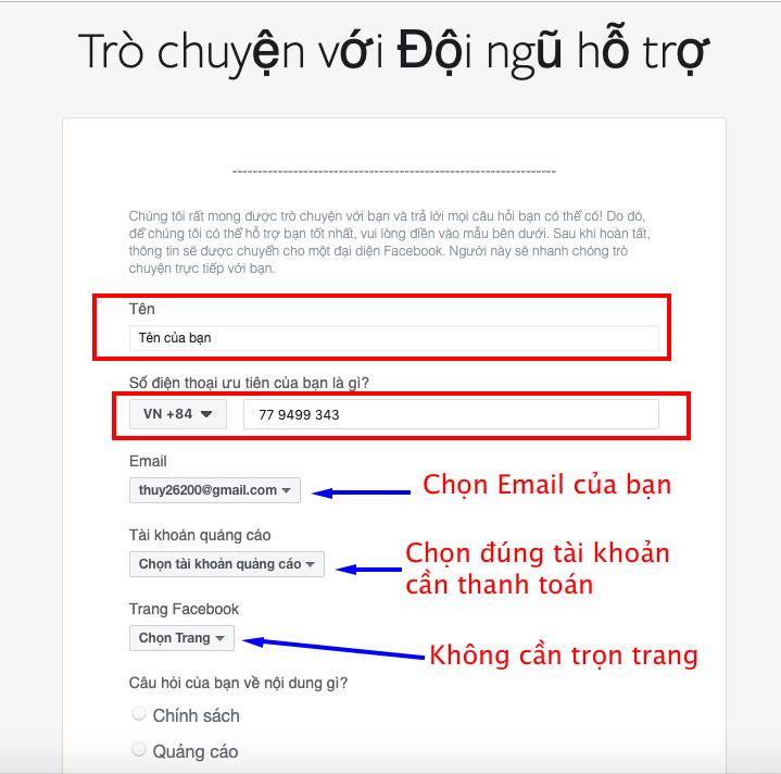 dien thong tin chat voi Facebook