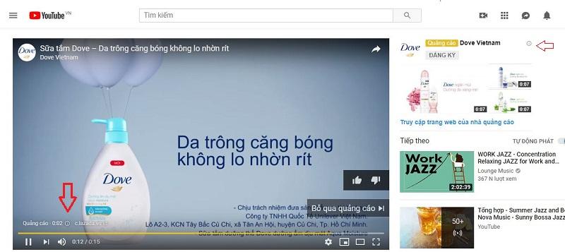 Banner hiển thị trên kênh Youtube
