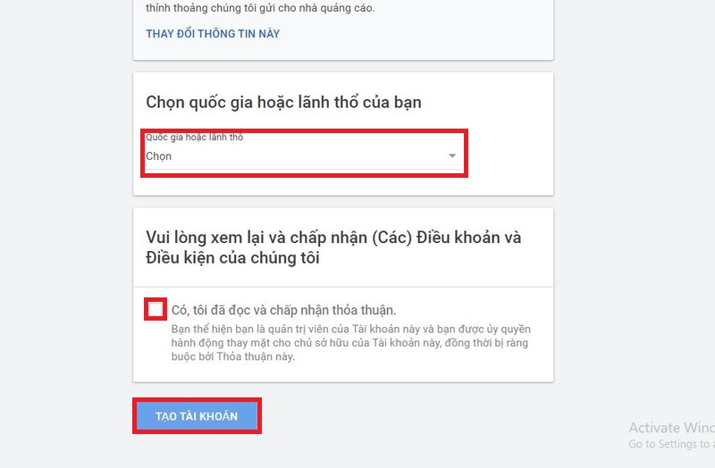 Chấp nhận chính sách của Google Adsense