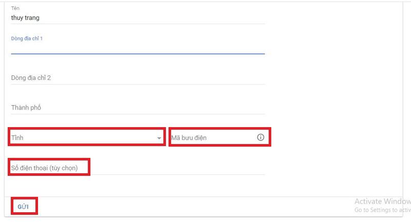Điền tài khoản thanh toán trong Google Adsense