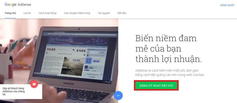 Truy cập vào đường dẫn để đăng ký Google Adsense