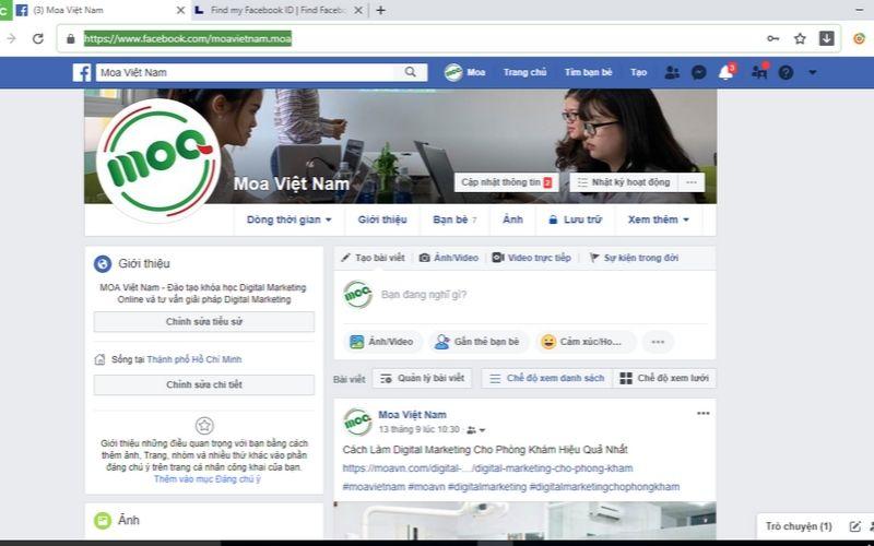 Ví dụ UID facebook bước 1