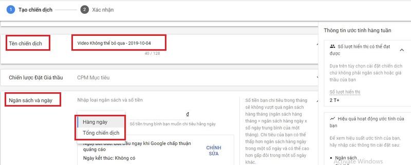 Đặt ngân sách và ngày của quảng cáo youtube