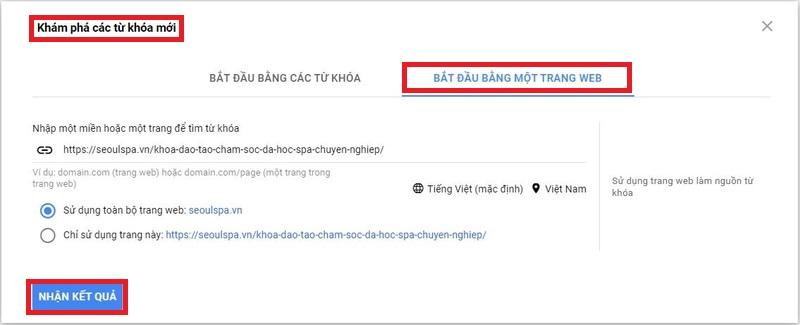 Nghiên cứu từ khóa trên google bằng URL với công cụ GG Keyword Planner