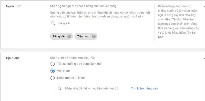 Ngôn ngữ & Địa điểm trong quảng cáo youtube trên google ads