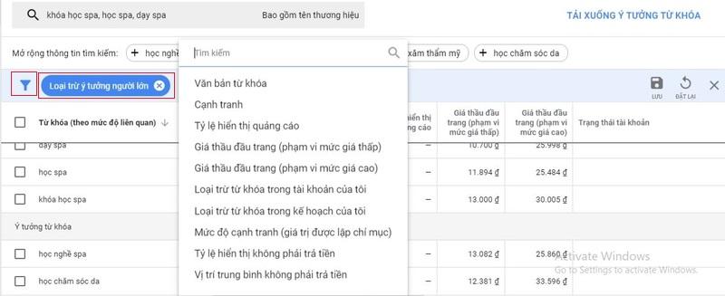 Phân tích chỉ số cơ bản xuất ra khi sử dụng google keyword Planner