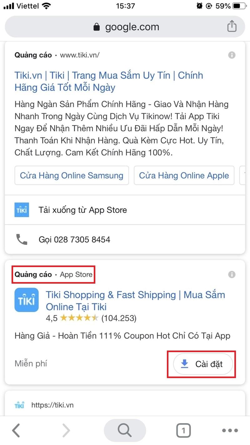 Tiện ích ứng dụng trên Tiki