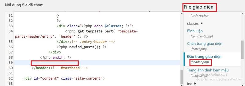 Chèn code remarketing vào WordPress
