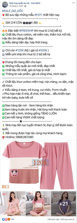 lời quảng cáo bán quần áo trên facebook