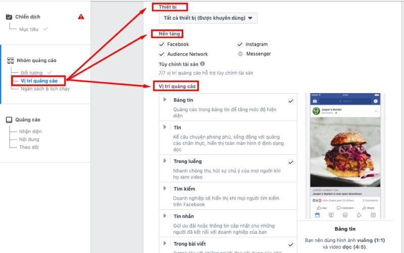 vi tri quang cao facebook